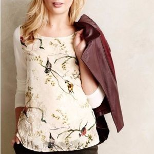 Deletta Bird Song Velvet Burnout Long Sleeve Shirt